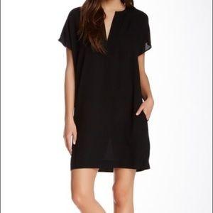 Vince Split Front Silk Dress   Black   Small